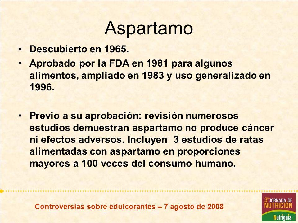 Aspartamo Descubierto en 1965.