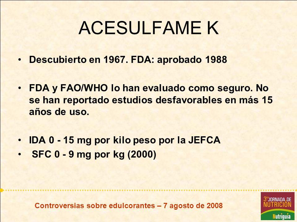 ACESULFAME K Descubierto en 1967. FDA: aprobado 1988