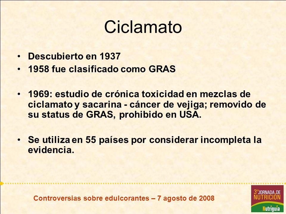 Ciclamato Descubierto en 1937 1958 fue clasificado como GRAS