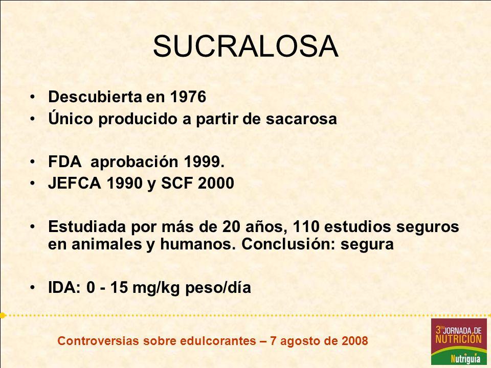 SUCRALOSA Descubierta en 1976 Único producido a partir de sacarosa