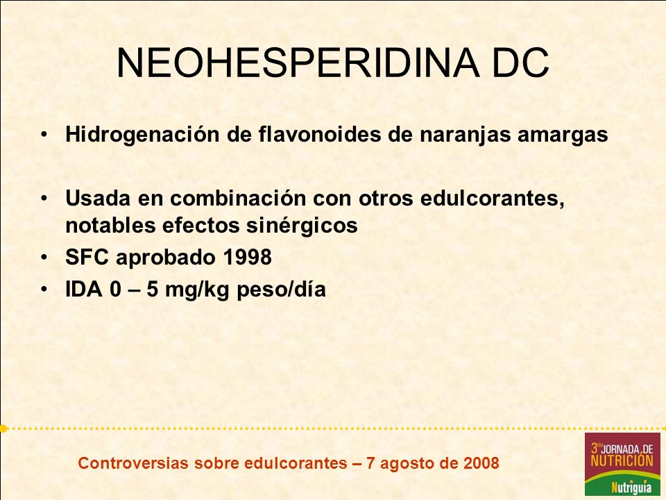 NEOHESPERIDINA DC Hidrogenación de flavonoides de naranjas amargas