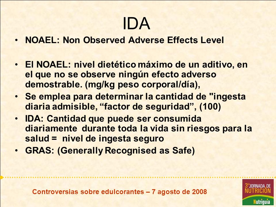 IDA NOAEL: Non Observed Adverse Effects Level