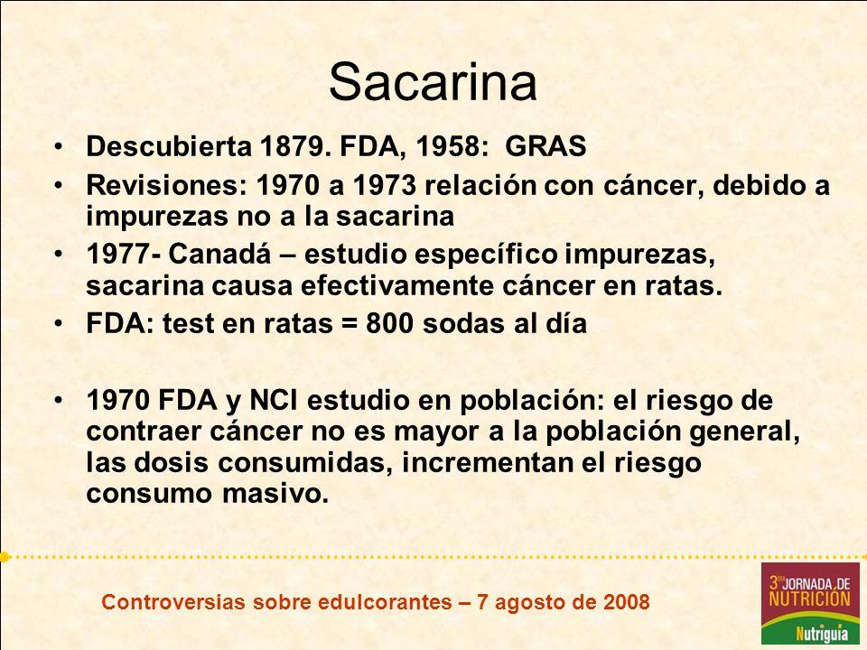 Sacarina Descubierta 1879. FDA, 1958: GRAS