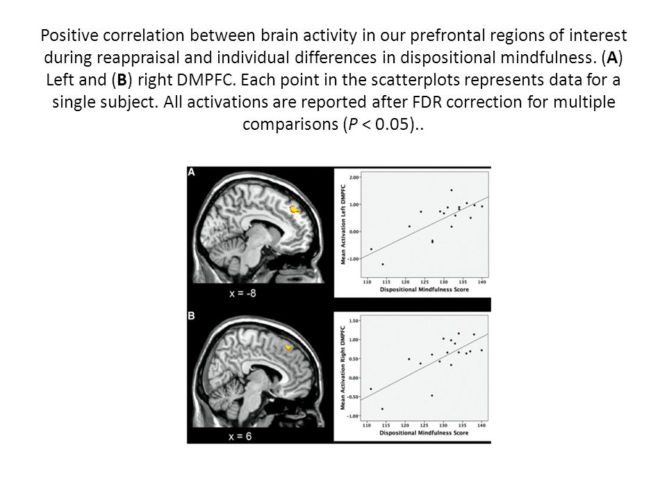 Positive correlation between brain activity in our prefrontal regions of interest during reappraisal and individual differences in dispositional mindfulness.