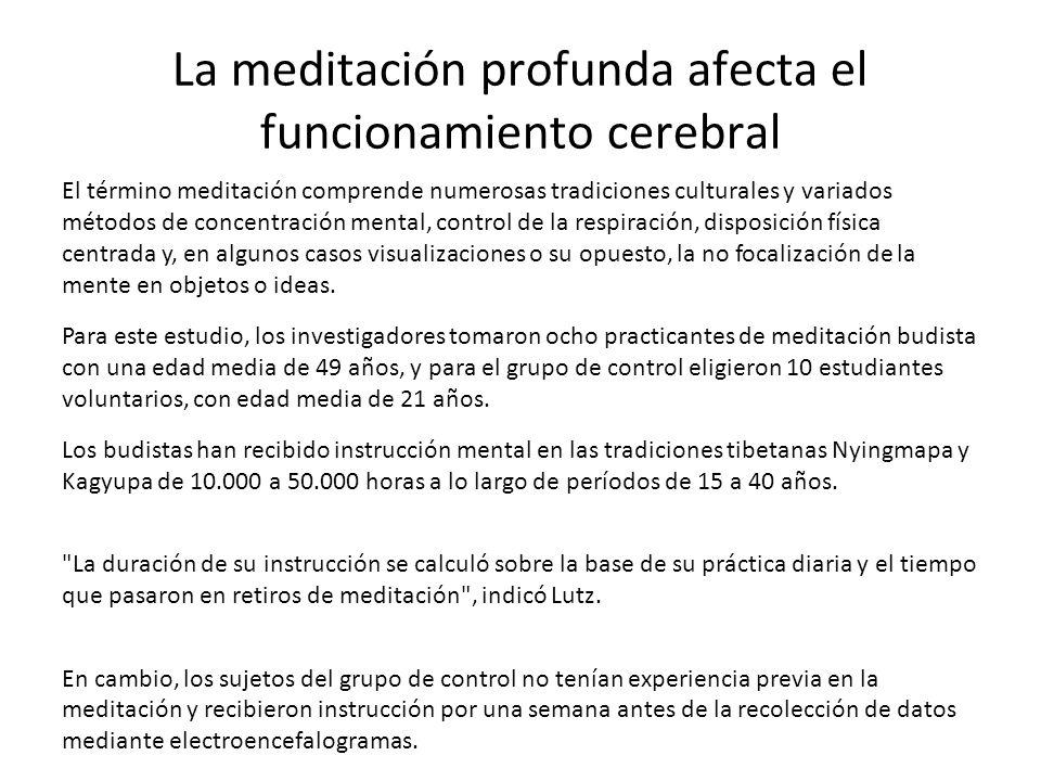 La meditación profunda afecta el funcionamiento cerebral