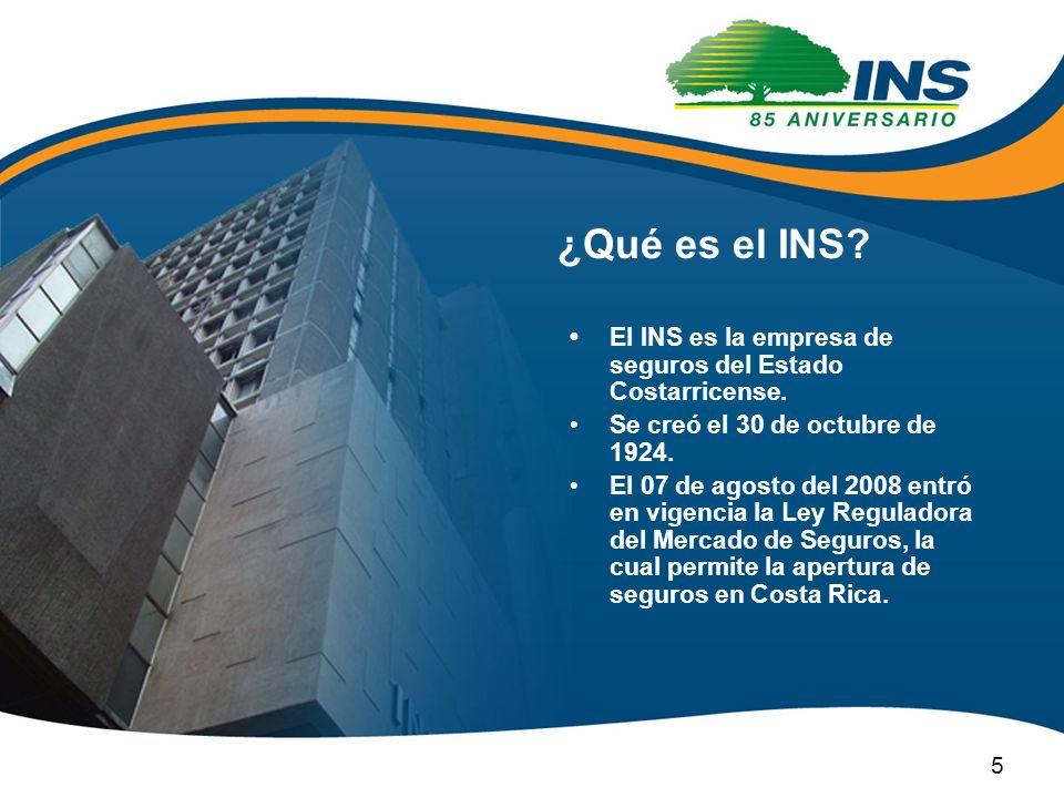 ¿Qué es el INS • El INS es la empresa de seguros del Estado Costarricense. Se creó el 30 de octubre de 1924.