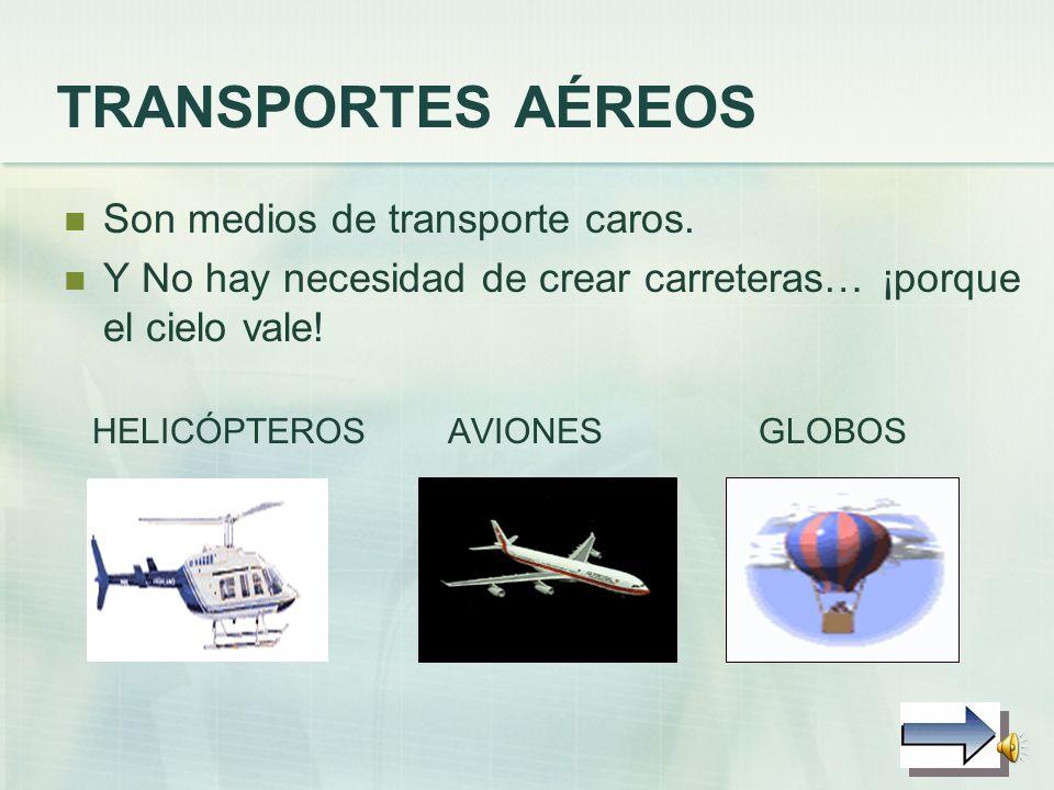 TRANSPORTES AÉREOS Son medios de transporte caros.