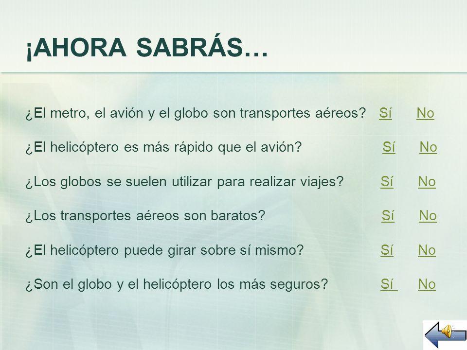 ¡AHORA SABRÁS… ¿El metro, el avión y el globo son transportes aéreos Sí No.