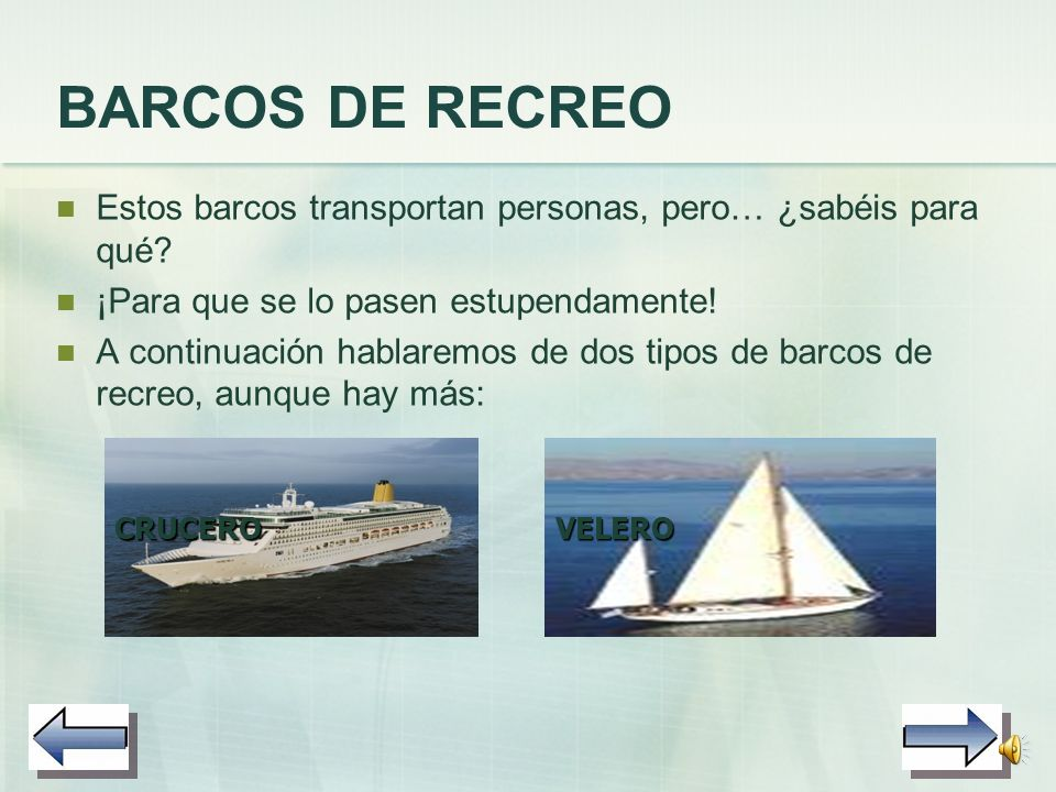BARCOS DE RECREO Estos barcos transportan personas, pero… ¿sabéis para qué ¡Para que se lo pasen estupendamente!