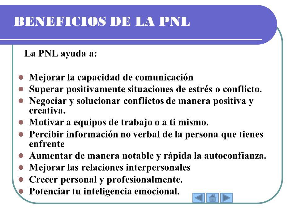 BENEFICIOS DE LA PNL Mejorar la capacidad de comunicación