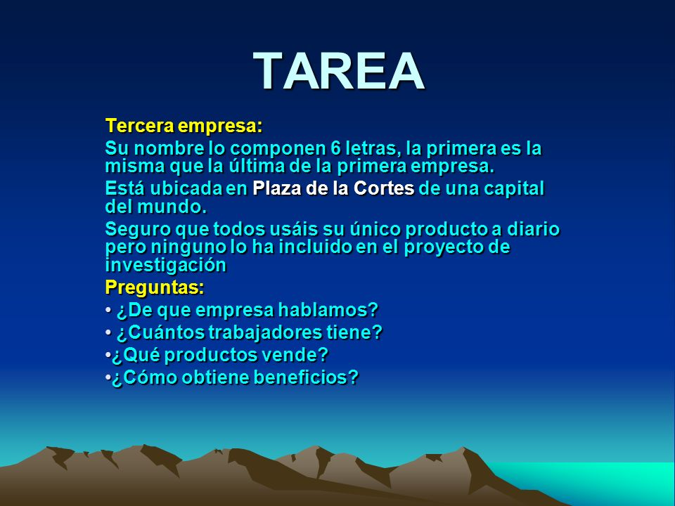 TAREA Tercera empresa: