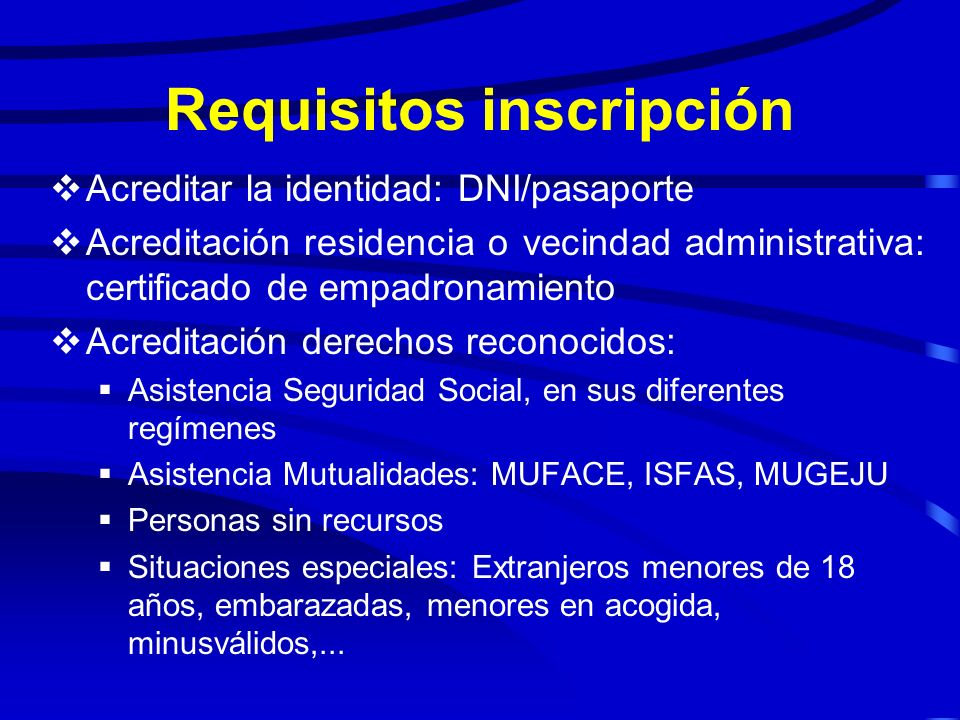 Requisitos inscripción