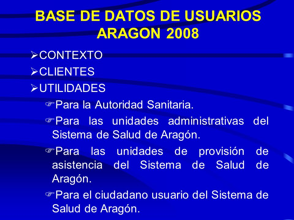 BASE DE DATOS DE USUARIOS ARAGON 2008