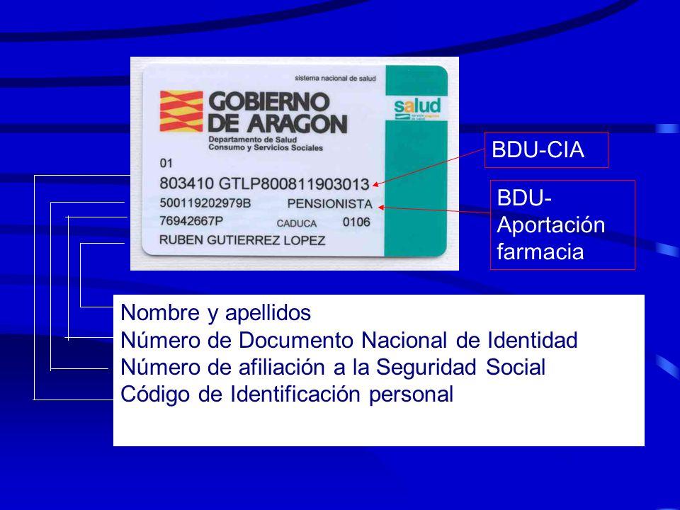 BDU-CIA BDU-Aportación farmacia. Nombre y apellidos. Número de Documento Nacional de Identidad. Número de afiliación a la Seguridad Social.