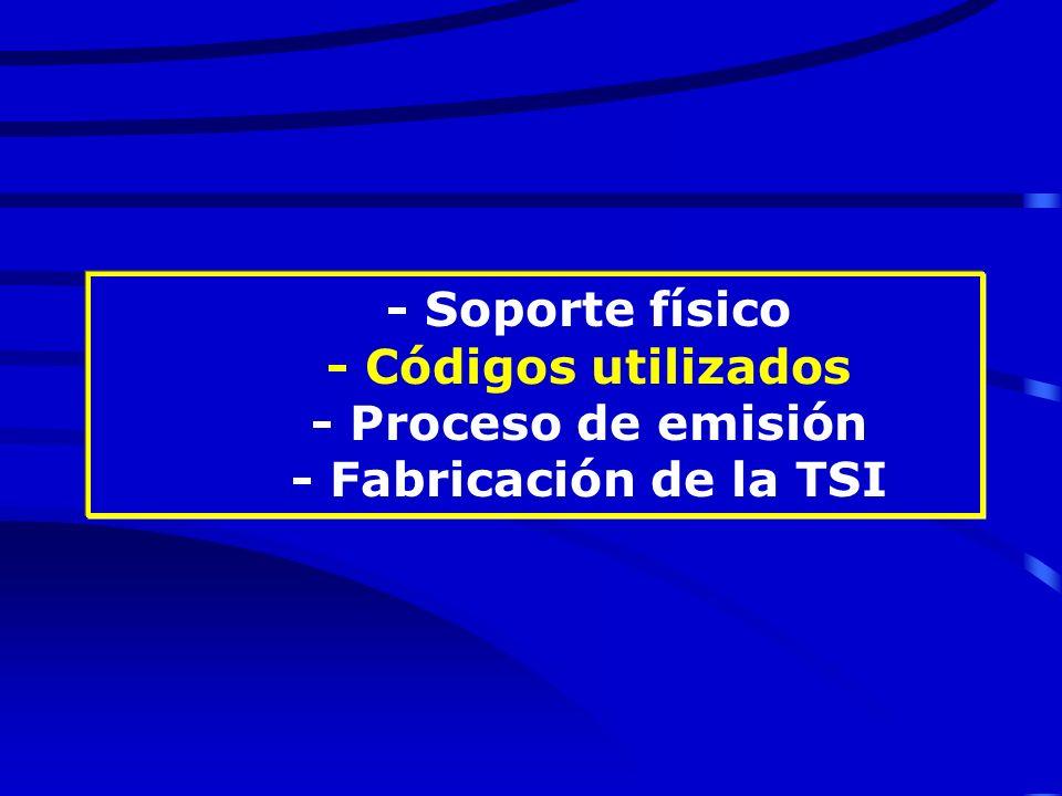 - Soporte físico - Códigos utilizados - Proceso de emisión - Fabricación de la TSI