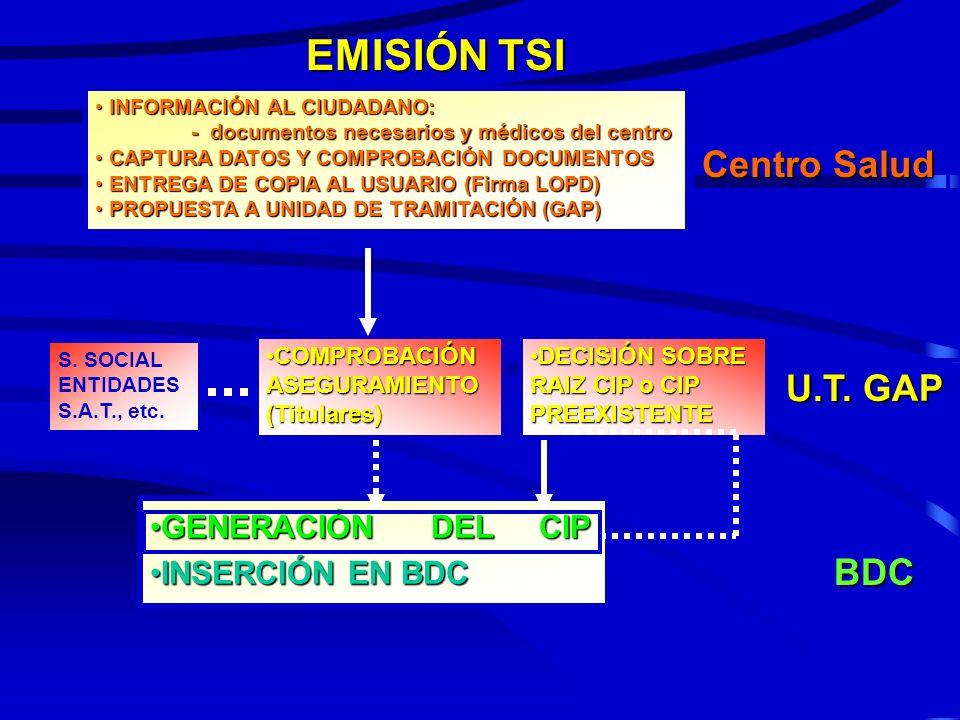 EMISIÓN TSI Centro Salud U.T. GAP BDC GENERACIÓN DEL CIP