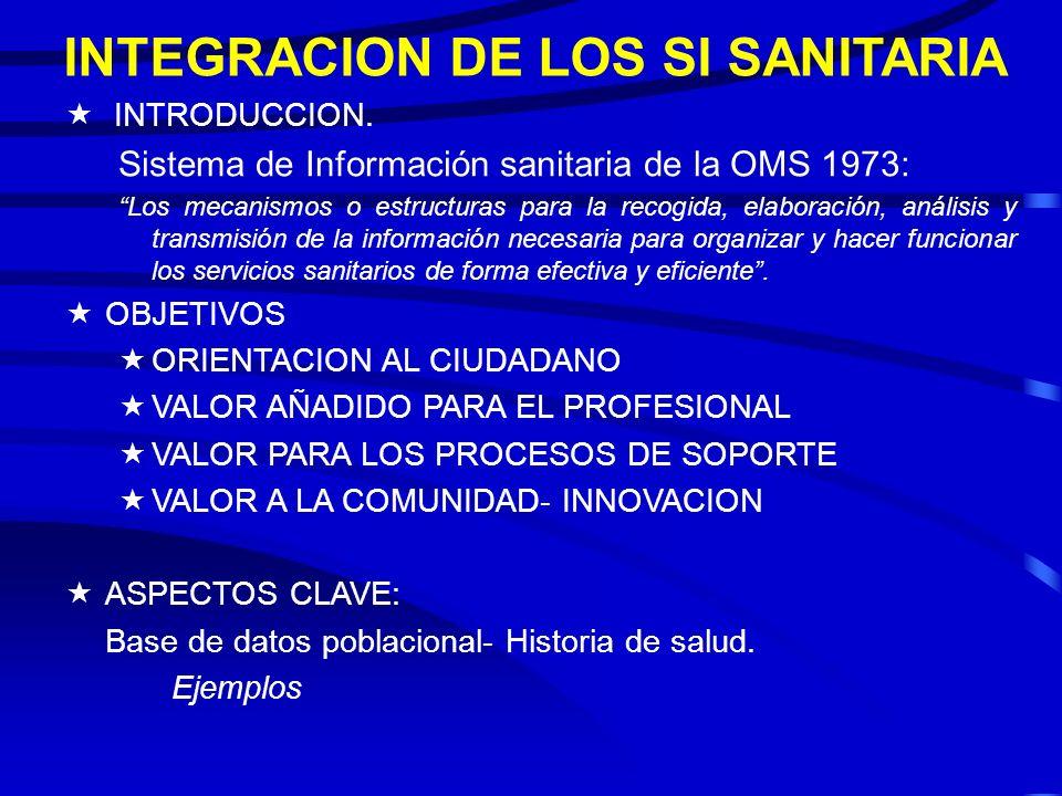 INTEGRACION DE LOS SI SANITARIA