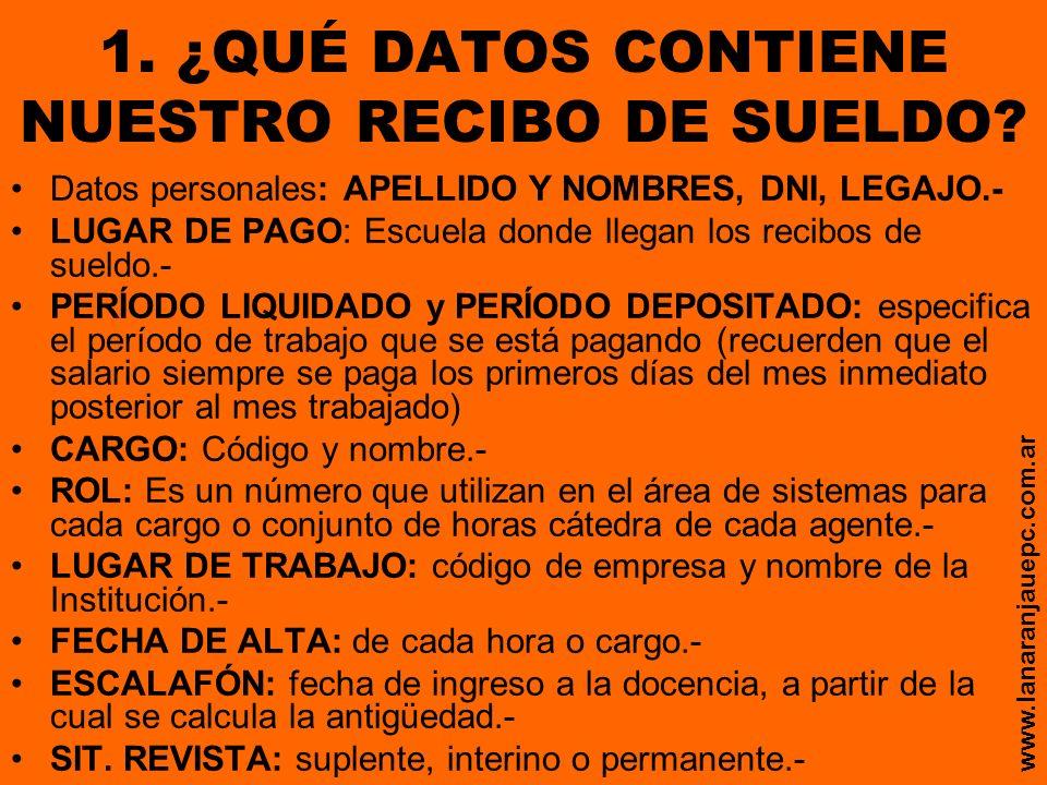 1. ¿QUÉ DATOS CONTIENE NUESTRO RECIBO DE SUELDO