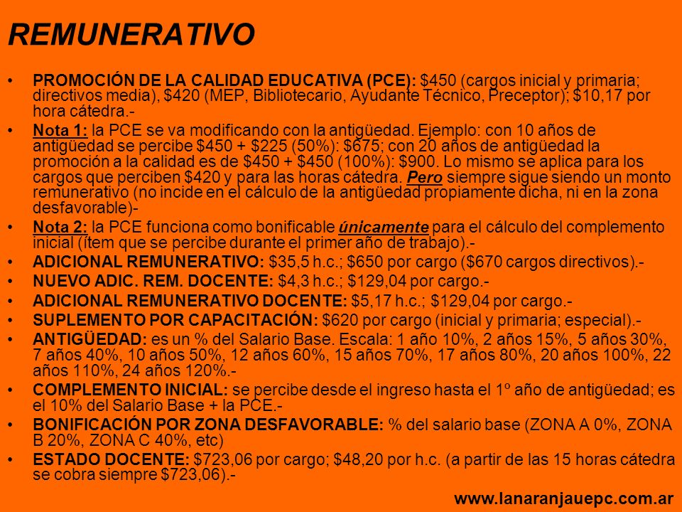 REMUNERATIVO www.lanaranjauepc.com.ar
