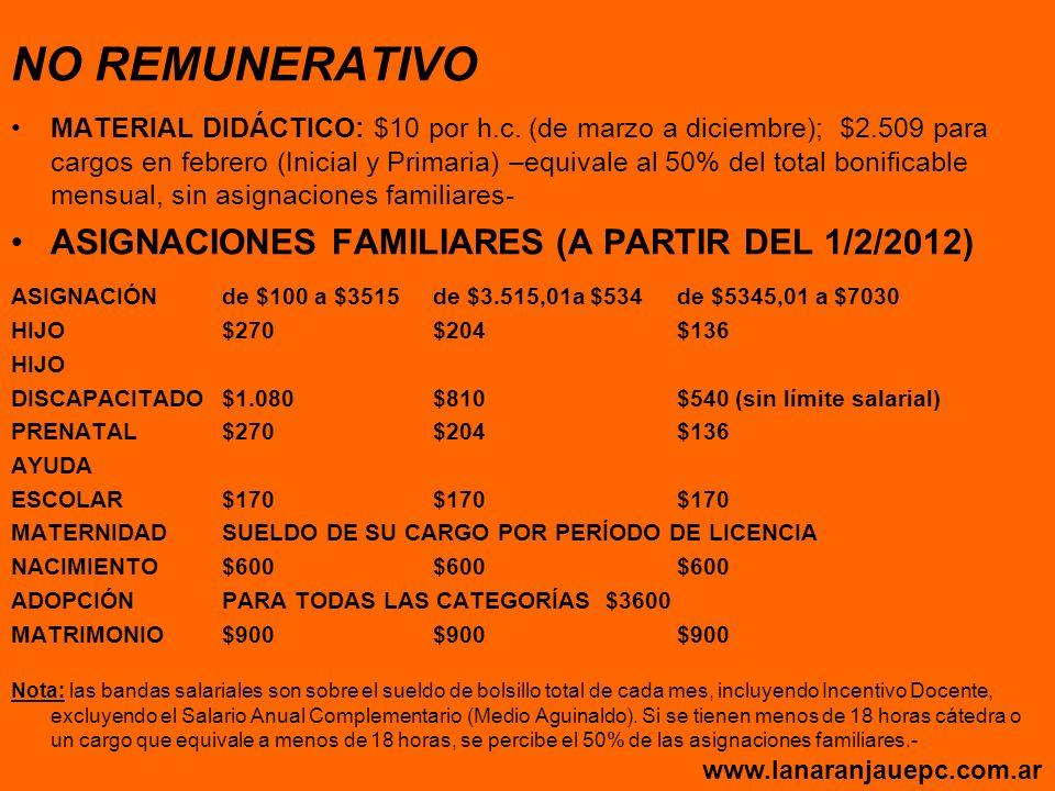 NO REMUNERATIVO ASIGNACIONES FAMILIARES (A PARTIR DEL 1/2/2012)
