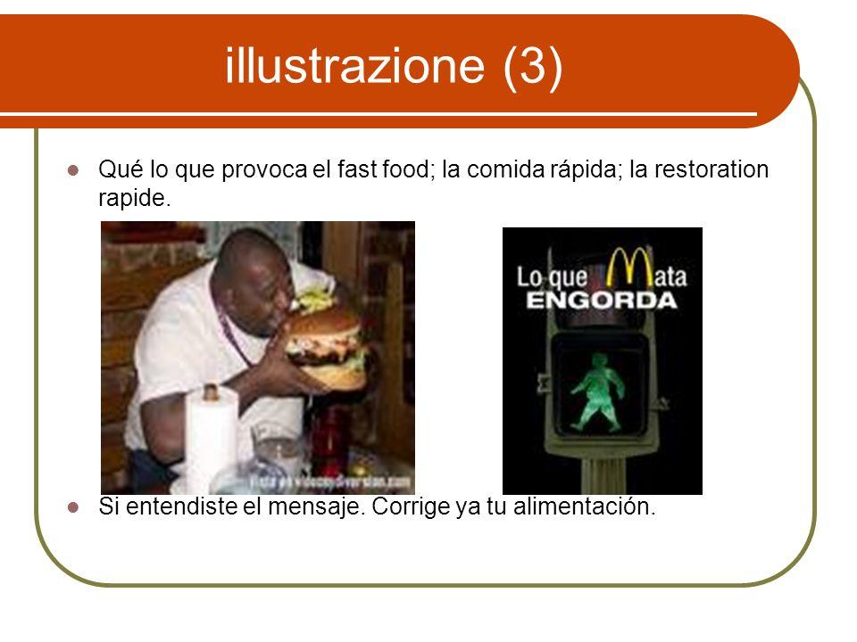 illustrazione (3) Qué lo que provoca el fast food; la comida rápida; la restoration rapide.