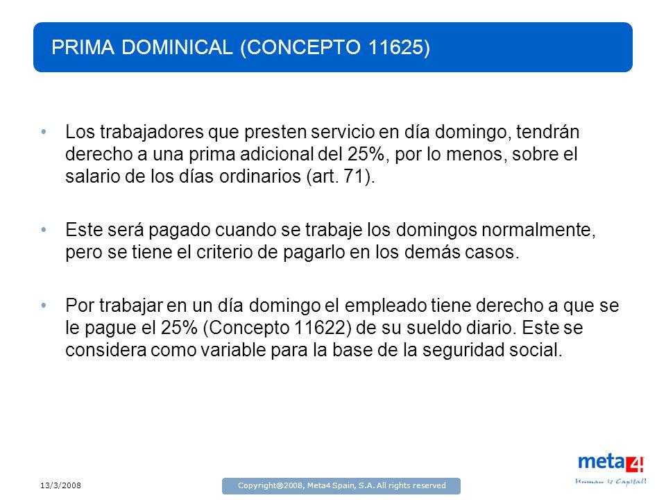 PRIMA DOMINICAL (CONCEPTO 11625)