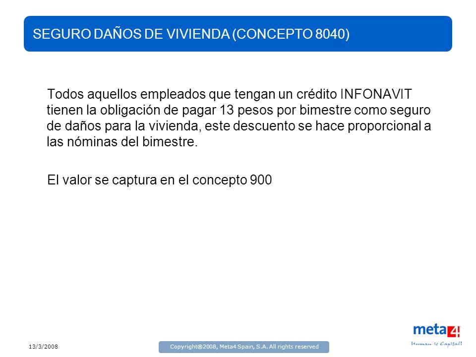 SEGURO DAÑOS DE VIVIENDA (CONCEPTO 8040)