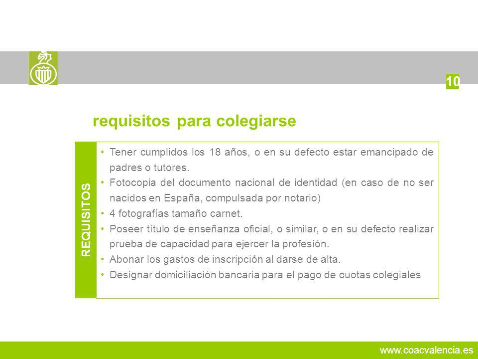 requisitos para colegiarse
