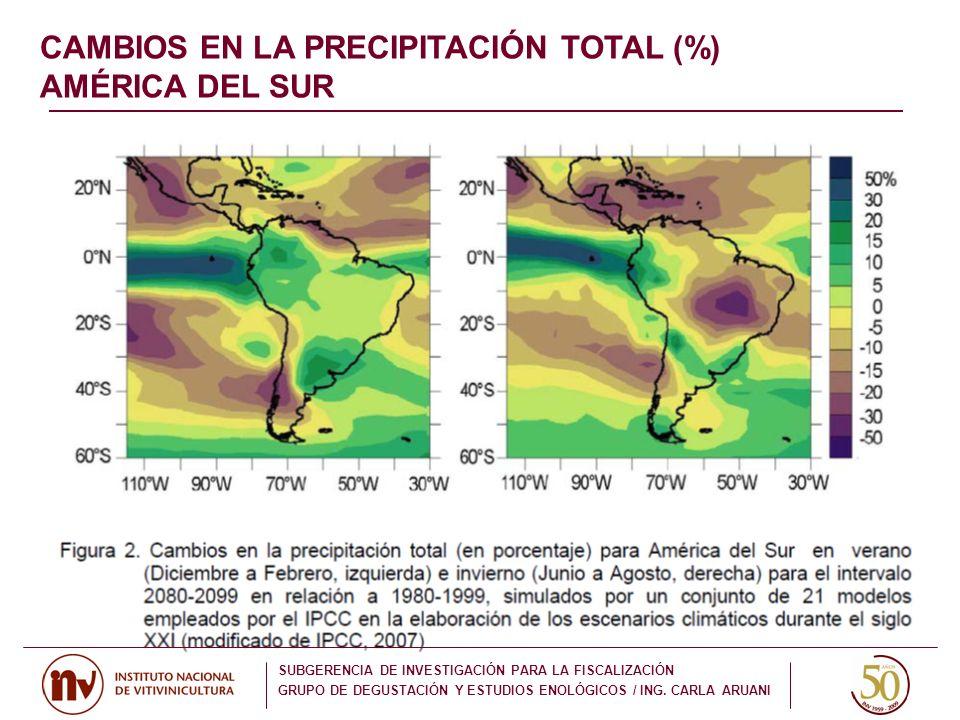 CAMBIOS EN LA PRECIPITACIÓN TOTAL (%) AMÉRICA DEL SUR