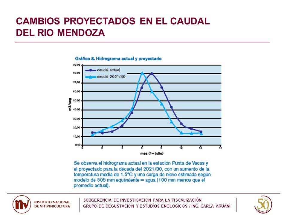 CAMBIOS PROYECTADOS EN EL CAUDAL DEL RIO MENDOZA
