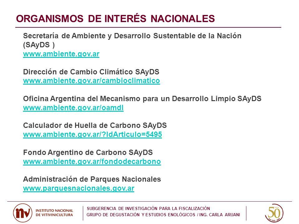ORGANISMOS DE INTERÉS NACIONALES