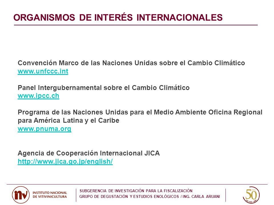 ORGANISMOS DE INTERÉS INTERNACIONALES