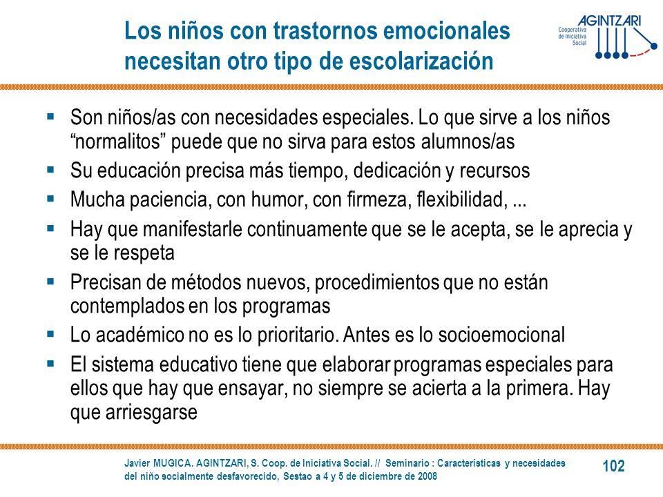 Los niños con trastornos emocionales necesitan otro tipo de escolarización