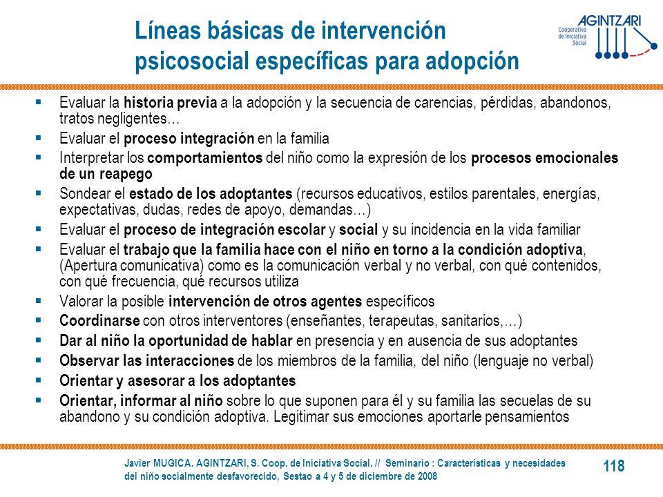 Líneas básicas de intervención psicosocial específicas para adopción