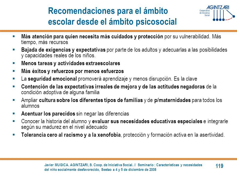 Recomendaciones para el ámbito escolar desde el ámbito psicosocial