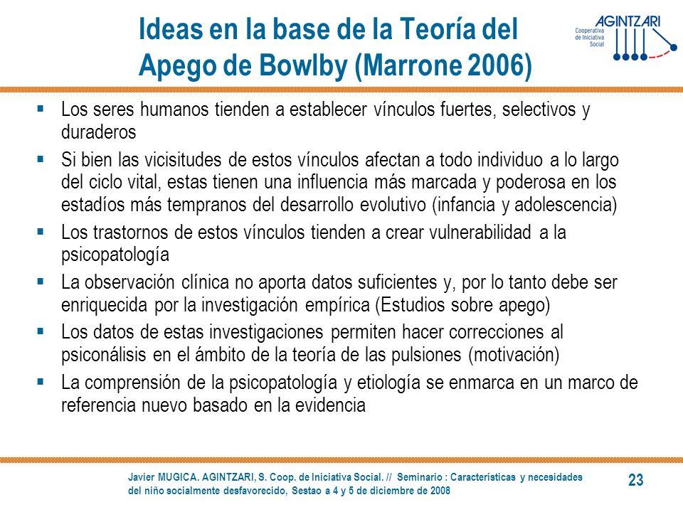 Ideas en la base de la Teoría del Apego de Bowlby (Marrone 2006)