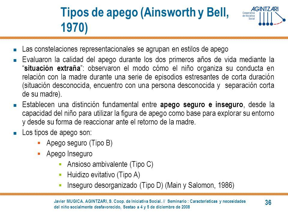 Tipos de apego (Ainsworth y Bell, 1970)