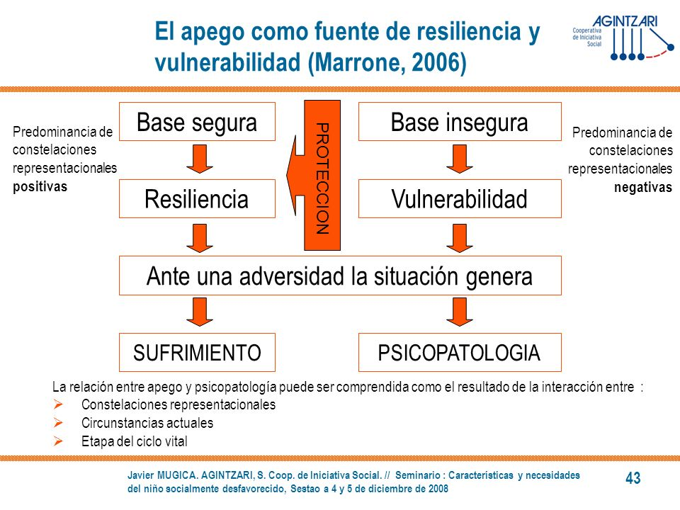 El apego como fuente de resiliencia y vulnerabilidad (Marrone, 2006)
