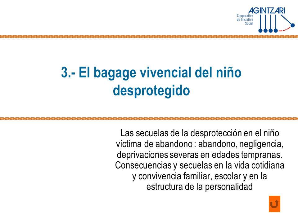 3.- El bagage vivencial del niño desprotegido