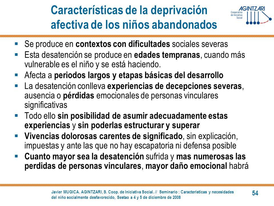 Características de la deprivación afectiva de los niños abandonados