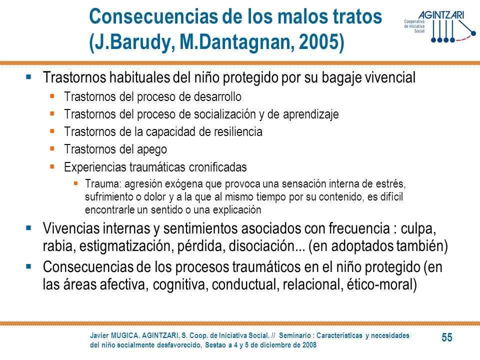 Consecuencias de los malos tratos (J.Barudy, M.Dantagnan, 2005)