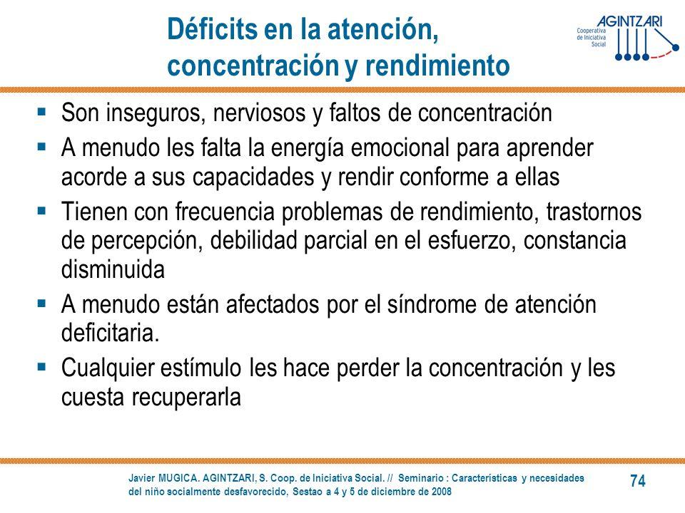 Déficits en la atención, concentración y rendimiento