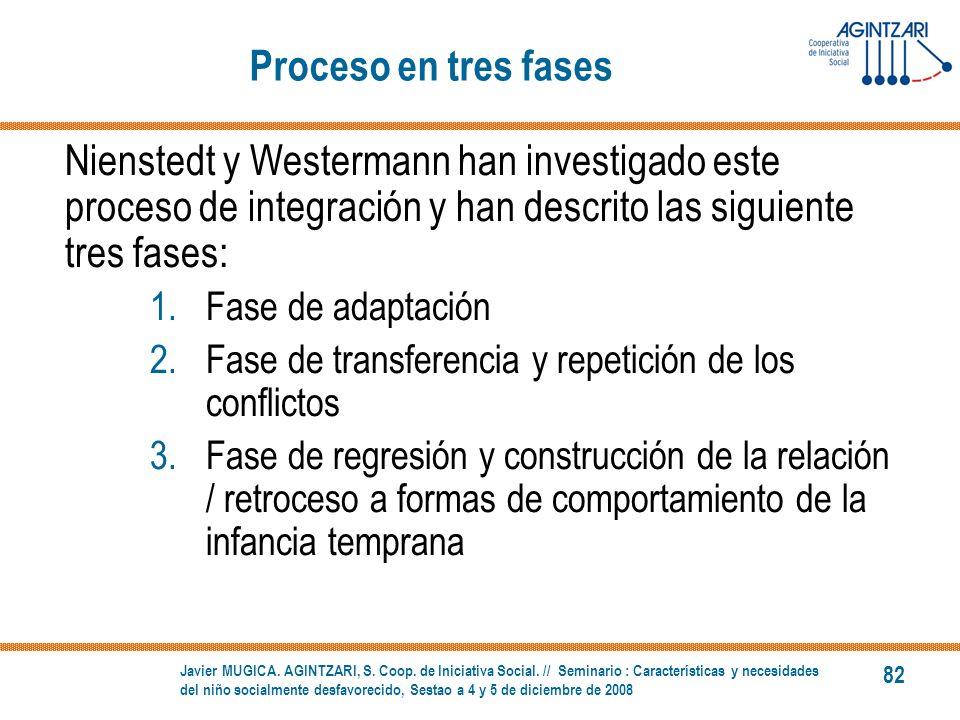 Proceso en tres fases Nienstedt y Westermann han investigado este proceso de integración y han descrito las siguiente tres fases: