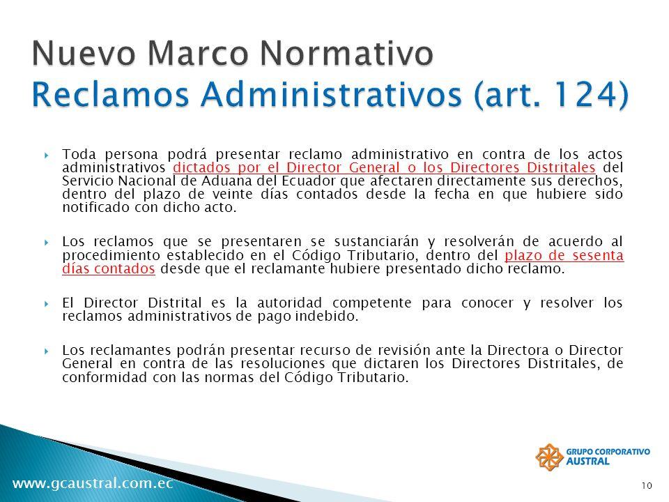 Nuevo Marco Normativo Reclamos Administrativos (art. 124)