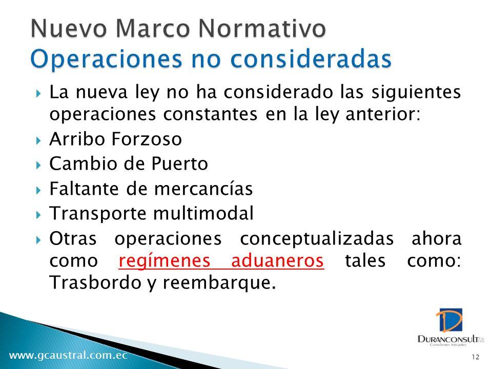 Nuevo Marco Normativo Operaciones no consideradas