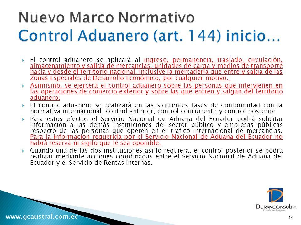 Nuevo Marco Normativo Control Aduanero (art. 144) inicio…