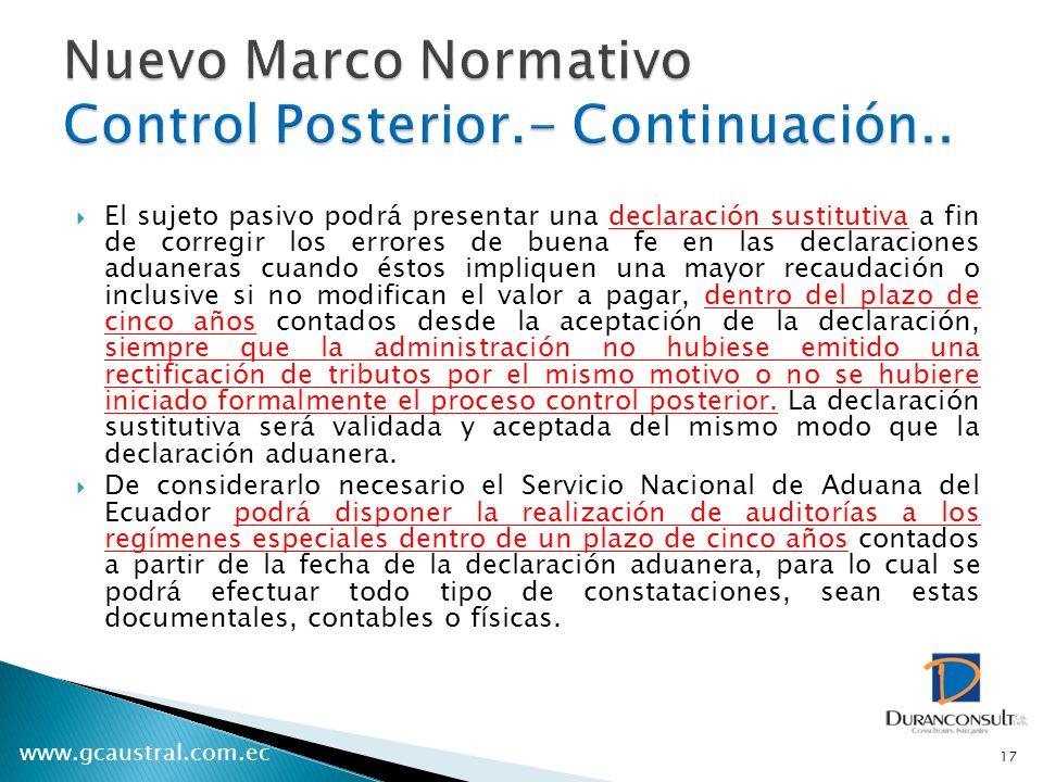 Nuevo Marco Normativo Control Posterior.- Continuación..