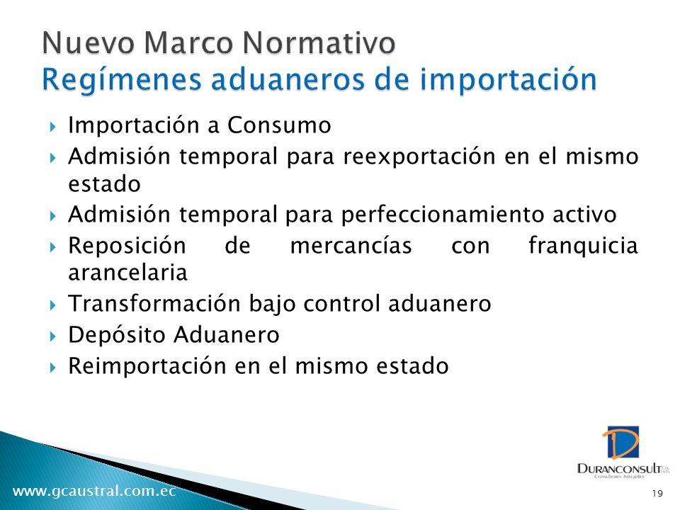 Nuevo Marco Normativo Regímenes aduaneros de importación