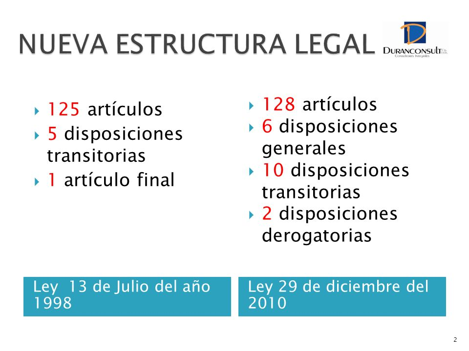 NUEVA ESTRUCTURA LEGAL