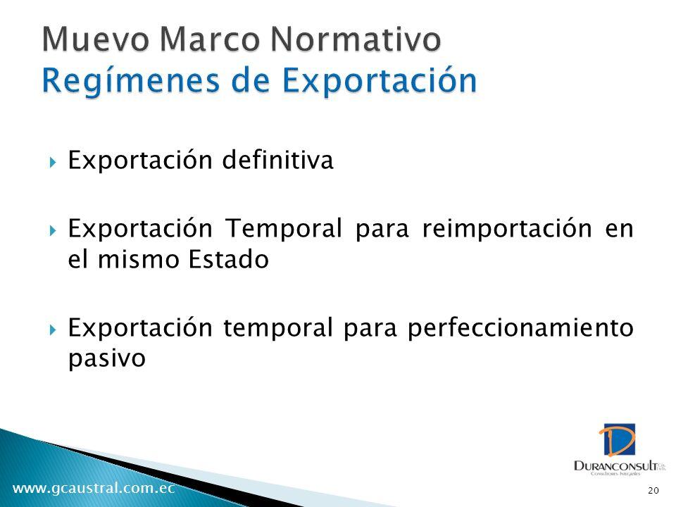 Muevo Marco Normativo Regímenes de Exportación